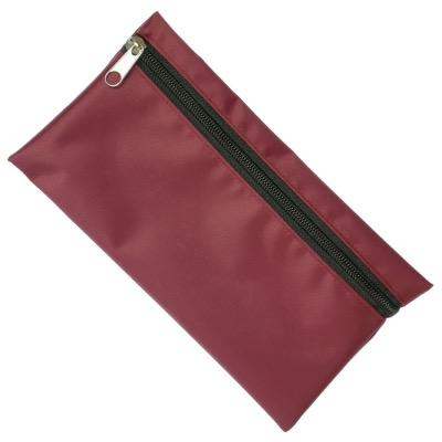 Image of Nylon Pencil Case - Burgundy (Black Zip)